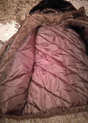 Вельветовая зимняя куртка с капюшоном, с-м5