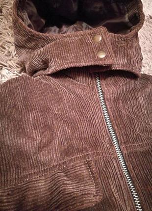 Вельветовая зимняя куртка с капюшоном, с-м2