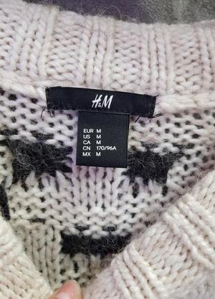 Вязанный свитер h&m m,вязанный свитер бежевого цвета в принт4
