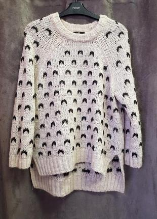 Вязанный свитер h&m m,вязанный свитер бежевого цвета в принт3