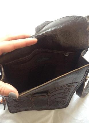 Кросс боди кожанная коричневая этно сумка через плечо3