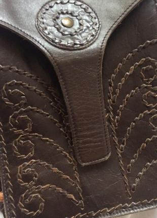 Кросс боди кожанная коричневая этно сумка через плечо5