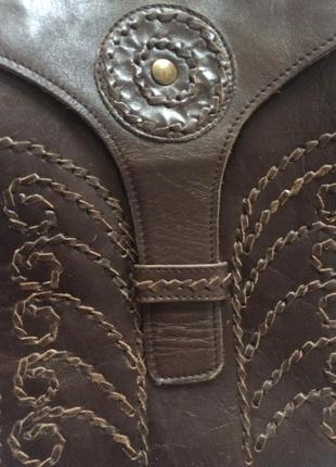 Кросс боди кожанная коричневая этно сумка через плечо4