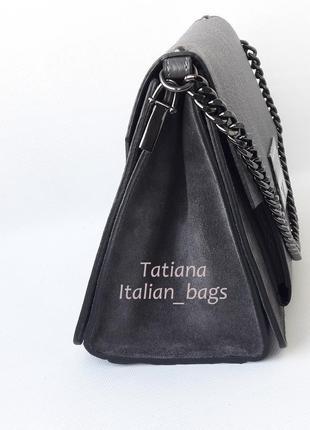 New. трендовая кожаная сумка с замшей, серая графит. италия3