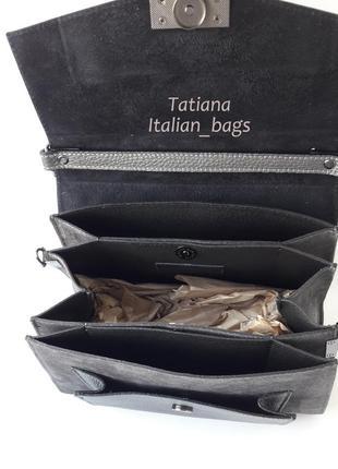 New. трендовая кожаная сумка с замшей, серая графит. италия4
