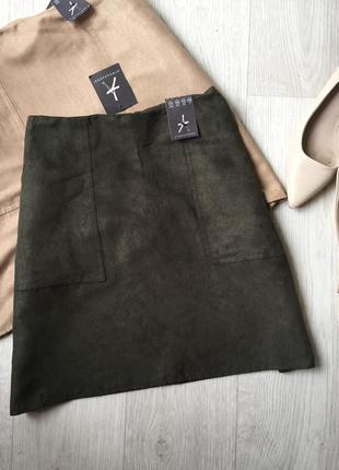 Замшевая юбка с карманами1