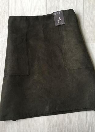 Замшевая юбка с карманами2
