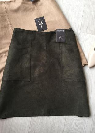 Замшевая юбка с карманами3