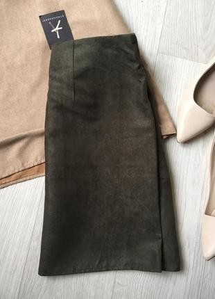Замшевая юбка с карманами4