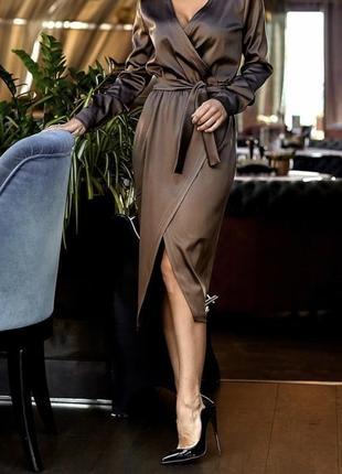 Атласное изумрудное платье3