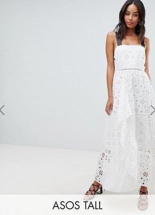 Новое белое хлопковое  кружевное платье asos с красивой спинкой из лент1