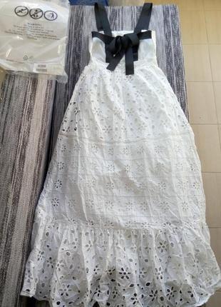 Новое белое хлопковое  кружевное платье asos с красивой спинкой из лент3