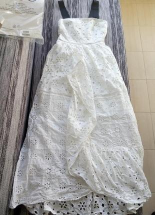 Новое белое хлопковое  кружевное платье asos с красивой спинкой из лент4