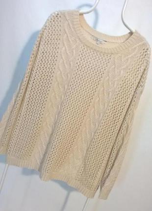 Акция!!! -50% на вторую вещь !!!  бежевый базовый джемпер свитер большой размер 18