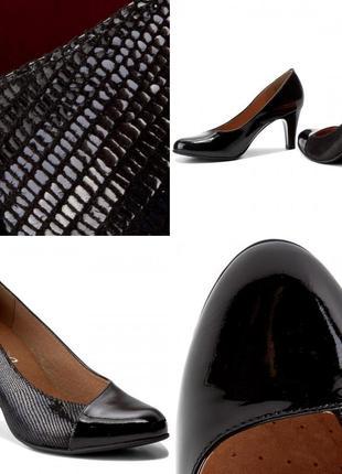 Туфли из натуральной кожи немецкого бренда caprice черные, р. 39, 403