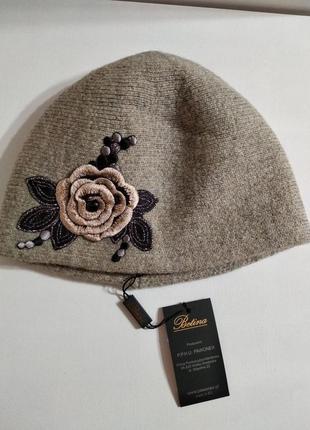 Женская шапка с красивой розой коллекция betina luxury польша3
