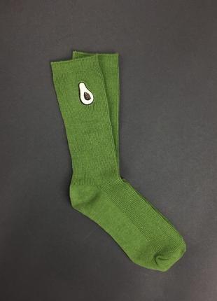 Носки унисекс с вышивкой авокадо. размер 36-41