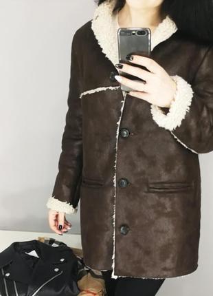 Стильное коричневое пальто-дубленка 181240 mango размер m2