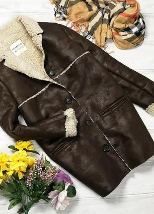 Стильное коричневое пальто-дубленка 181240 mango размер m1