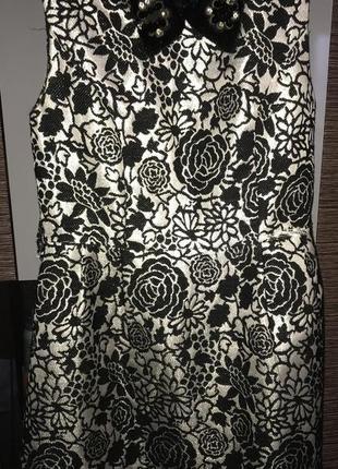 Супер платье с меховым воротником в камнях