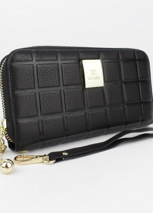 Кошелек женский кожаный на молнии 2-002-01 черный, расцветки2
