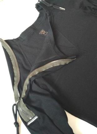 Чёрное платье в рубчик с молниями на рукаваx  от marc cain sports3