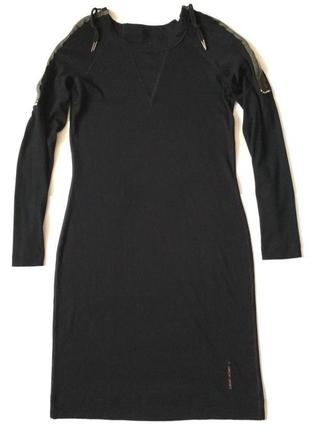 Чёрное платье в рубчик с молниями на рукаваx  от marc cain sports1