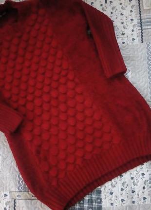 Светер- плаття насиченого червоного кольору оверсайз1