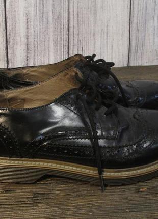 Туфли лофферы черные, 38 (25 см), кожаные, отл сост!1