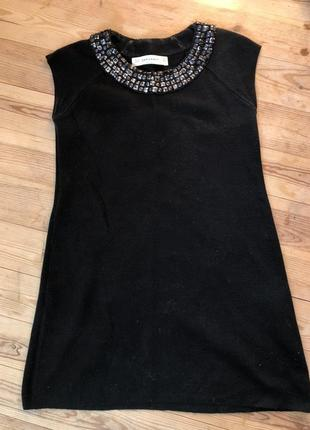 Тёплое чёрное платье zara
