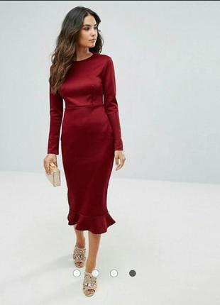 Облегающие платье asos миди бургунди бордо1