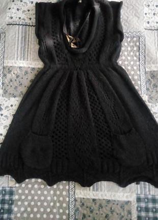 Тепле плаття-туніка,з кишеньками