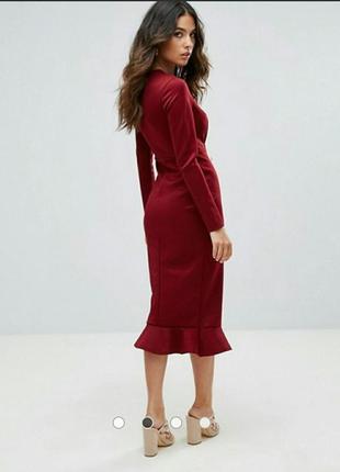 Облегающие платье asos миди бургунди бордо2