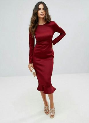 Облегающие платье asos миди бургунди бордо3
