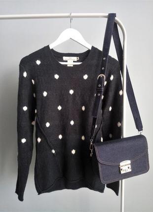 Женский свитер h&m шерстяной синего цвета1