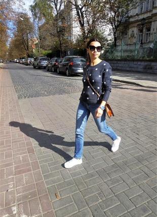 Женский свитер h&m шерстяной синего цвета2