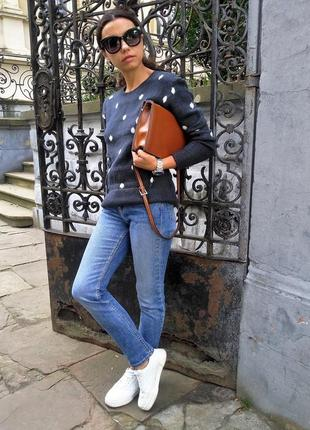 Женский свитер h&m шерстяной синего цвета5