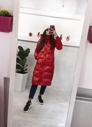 Зимняя куртка миди пуховик плащь винил теплый пуховик купить украина xs s m l2