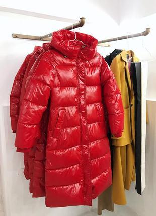 Зимняя куртка миди пуховик плащь винил теплый пуховик купить украина xs s m l5