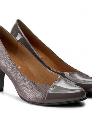 Туфли из натуральной кожи немецкого бренда caprice серо-сиреневые, р. 37, 38, 40