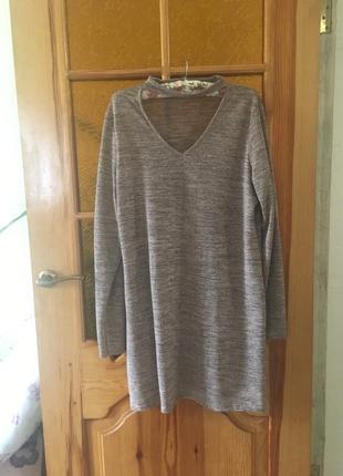 Новое фирменное трикотажное платье с чокером большого размера4