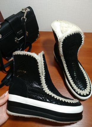 Зимние сапоги угии на платформе ботинки танкетка1