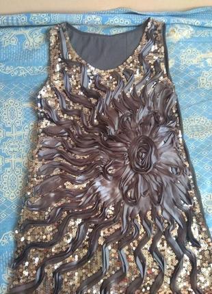 Красивое короткое вечернее платье с пайетками4