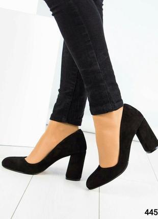 Замшевые туфли устойчивом каблуке рр. 393