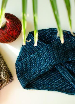 Синя з відблиском легка шапка чалма ( легкая блестящая синяя чалма )