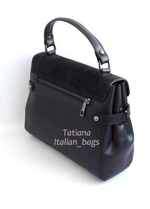 Кожаная сумка портфель с замшевым верхом, черная. италия3