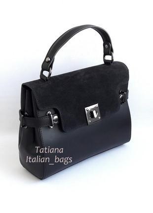Кожаная сумка портфель с замшевым верхом, черная. италия5