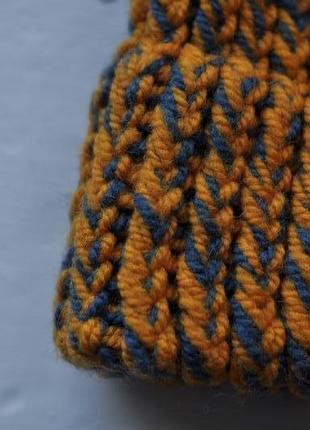 Теплая зимняя вязаная шапка3