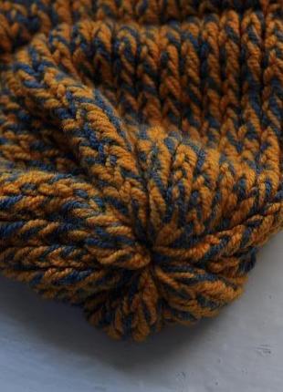 Теплая зимняя вязаная шапка4