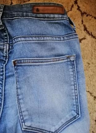 Светлые голубые джинсы брюки  скинни узкачи на высокой посадке катон h&m5